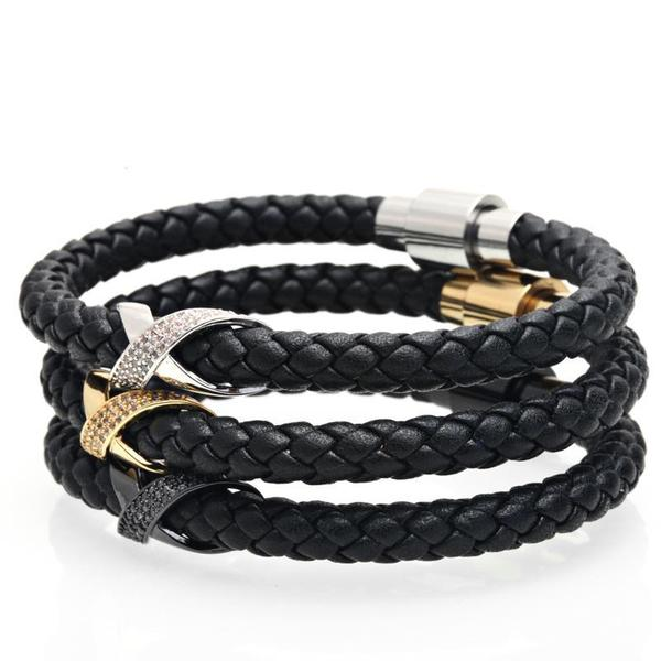 Leather Bracelet With Iced out Charm