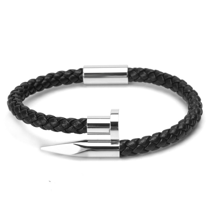Leather Braided Nail bracelet silver