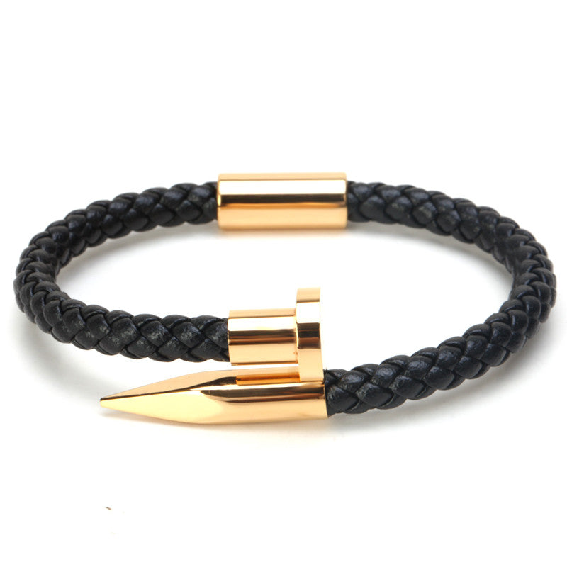 Leather Braided Nail bracelet gold