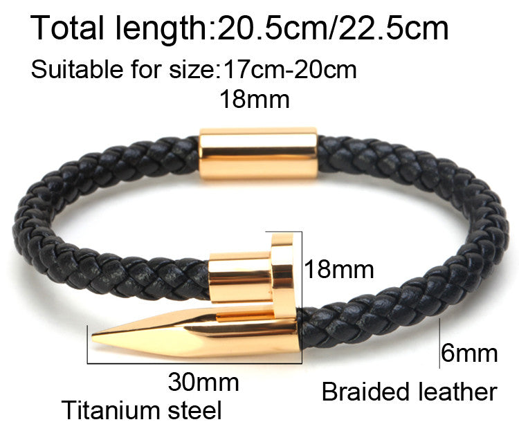 Leather Braided Nail bracelet
