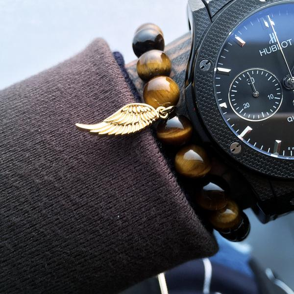Mens Wing Bracelet With Tiger Eye stone Beads