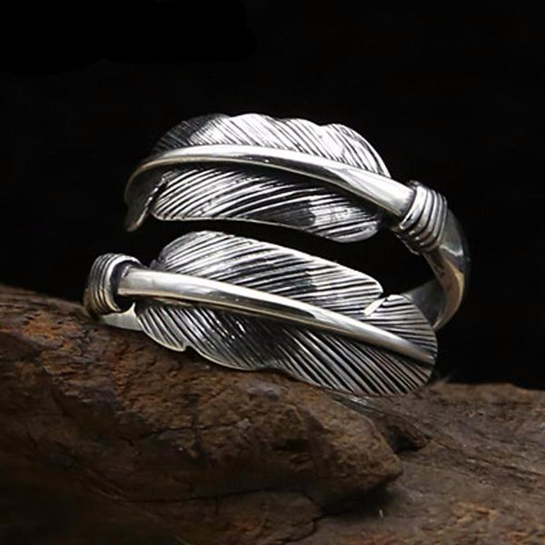 Silver Open Feather Ring