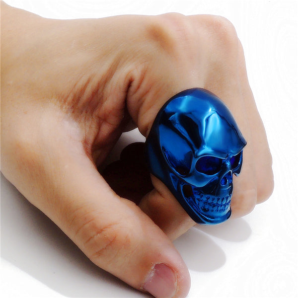 blue steel skull ring