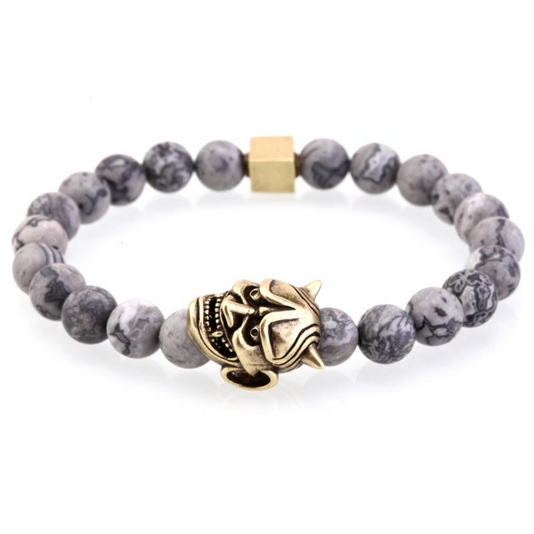 Mens Gray Striped Natural Stone Beads