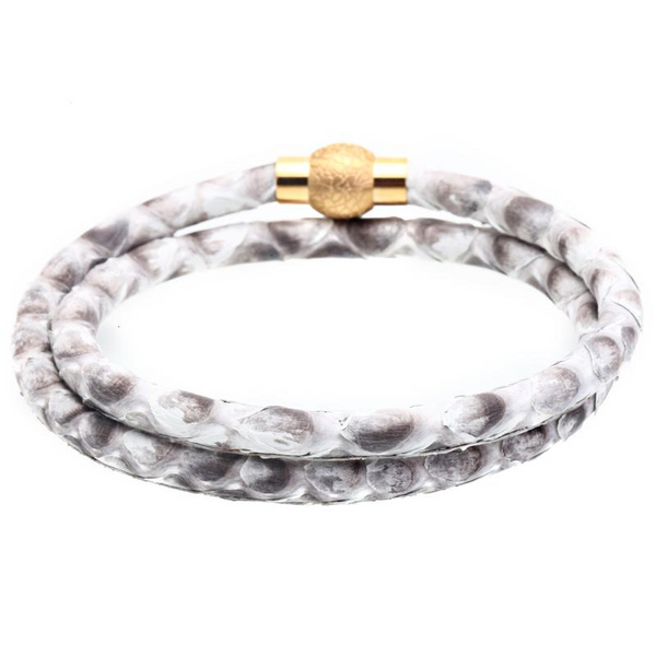 Mens Python Leather Bracelet With Gray Stainless Steel