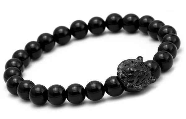 Black tiger head Charm & Natural stone bead bracelets 1