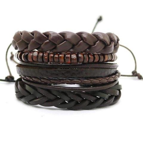Image of Men's Leather bracelet 4PCS/SET