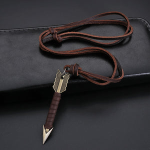 Brown Leather necklace With Arrow Pendant