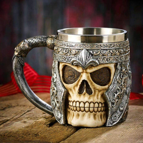 Image of Striking Skull Viking Warrior Beer Mug