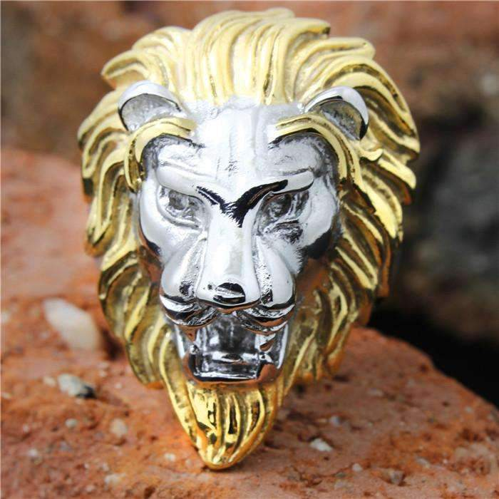 Men's Golden Lion Head Ring