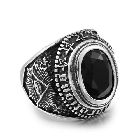 316L Stainless Steel All Seeing Eye With Black Stone Ring