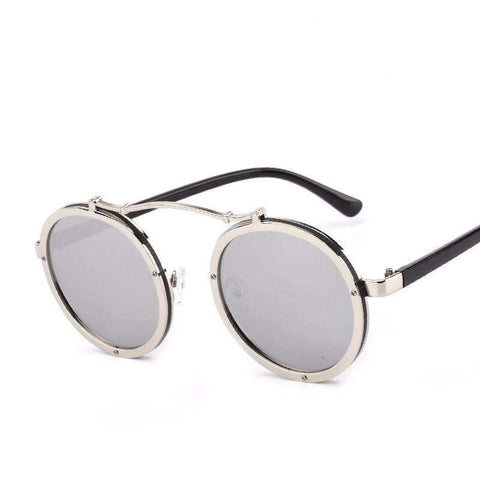 Image of Round Metal Steampunk Sunglasses - Unisex