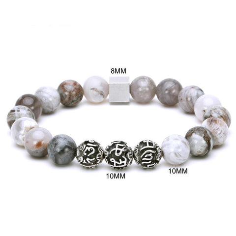 Image of Beaded Stone Bracelet With Tibetan Silver Charm
