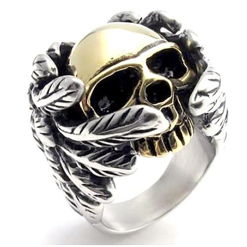 Death Angel Skull Ring With Wrapped Around Wings