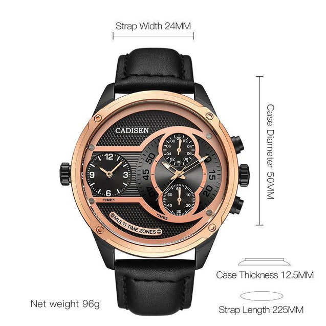 Dual Time Zone Mens Casual Watch