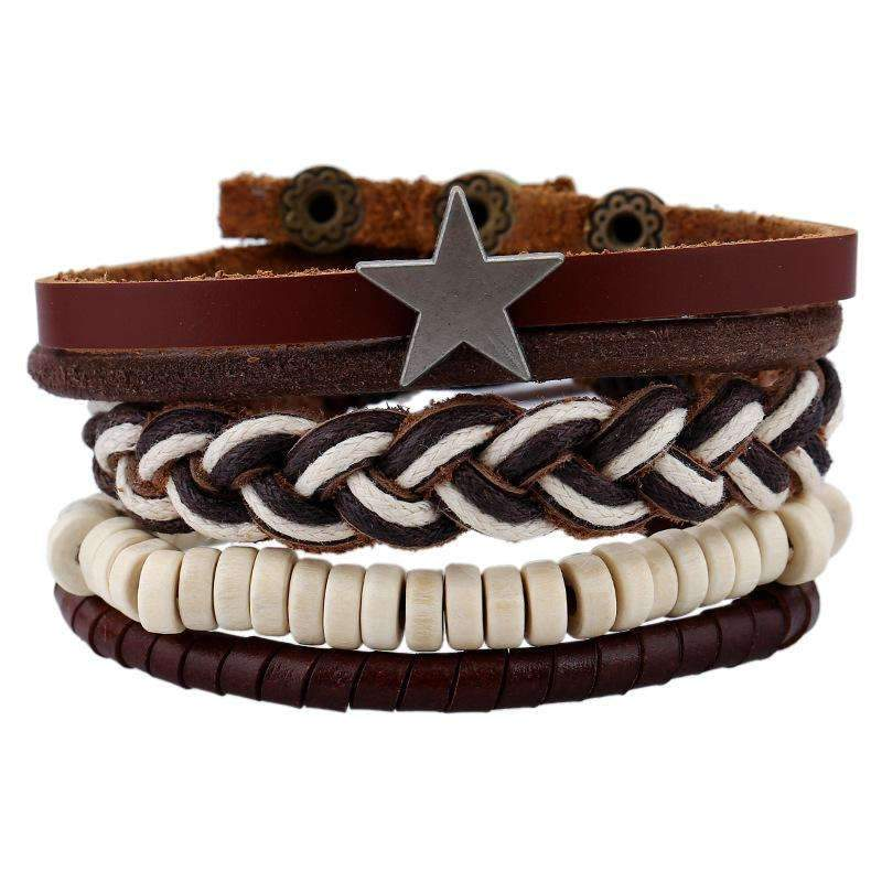 Unisex Leather Bracelet Set