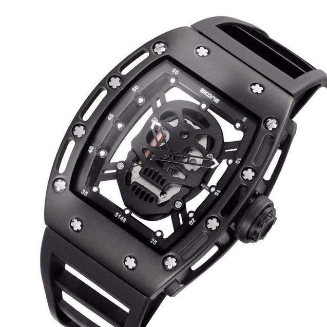 rubber band skull watch
