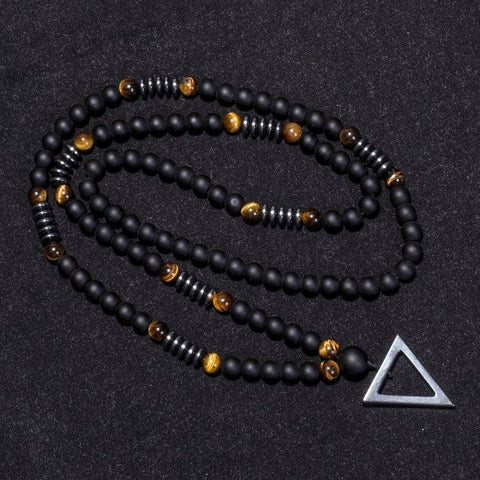 Geometric Tiger Eye Beaded Necklace