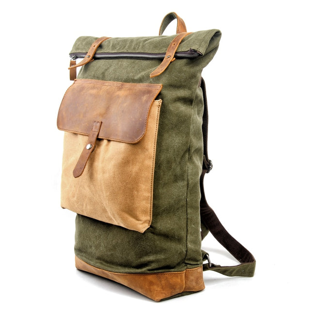Men's Canvas Large Capacity roll Top Backpack