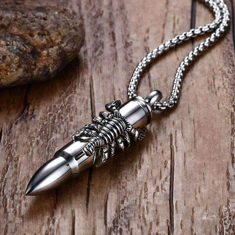Image of Mens Bullet Pendant Necklace