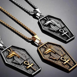 Egyptian Ankh Cross Anubis Pendants Necklace for Men