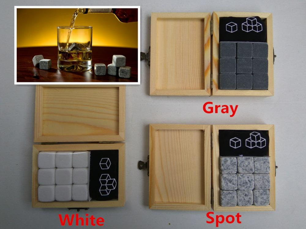 Whiskey Stones With Wooden Box+Velvet Bag [ 9 PCS/SET ]