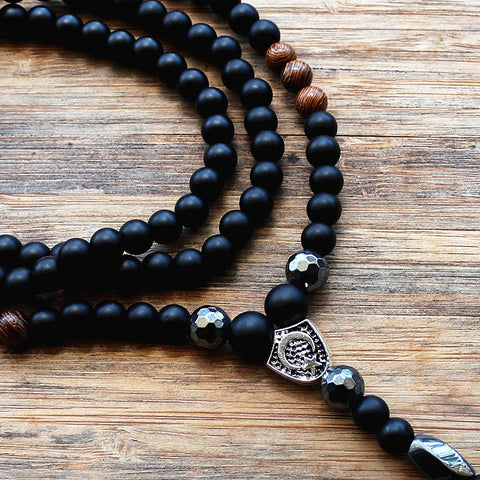 Image of 6MM Black Stone & Wood Bead Men's Rosaries Necklace