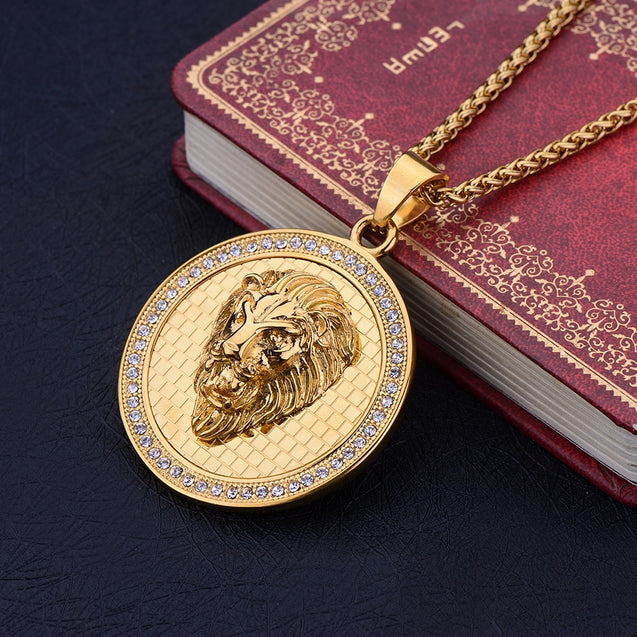 Stainless Steel Gold Color Round Lion Head Pendant Necklace with Zircon