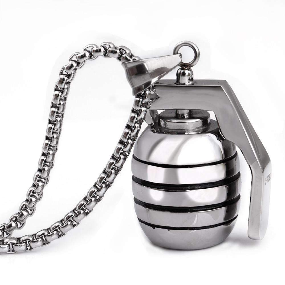 Stainless Steel  Anti-tank Grenade Pendant Necklace