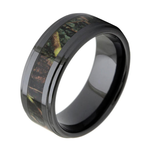 Men's Black Ceramic Ring With Wood Inlay