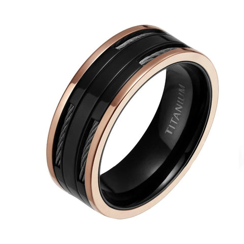 Black Titanium Ring With Rose Gold Edge & Cables Inlay For Men's