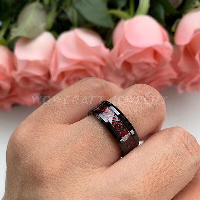 8mm Men's Black Tungsten Rings With Red Celtic Dragon inlay