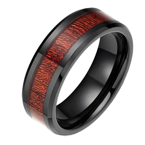Men's Black Ceramic Ring With Mahogany Wood Inlay