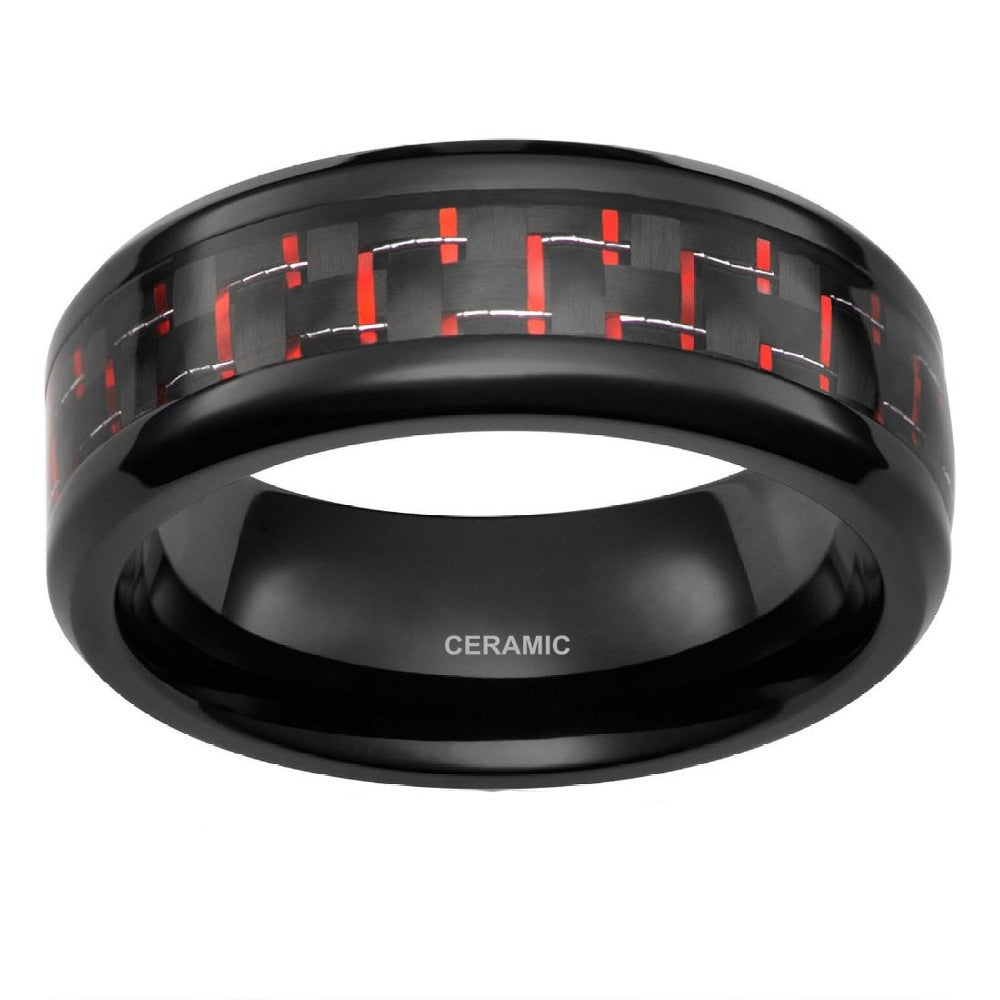 Black Ceramic Ring & Red Carbon Fiber Inlay