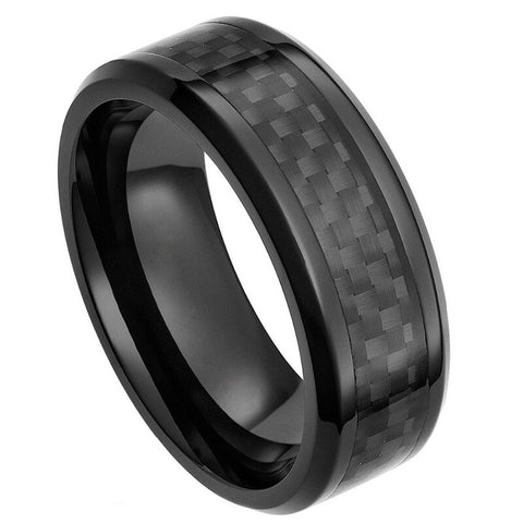 Men's Black Ceramic Ring With Carbon Fiber Inlay