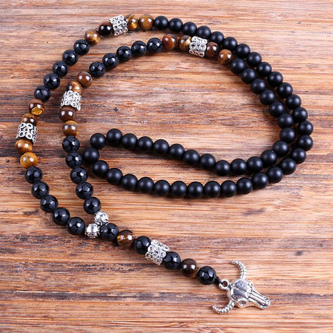 Image of Cow Skull Lariat Mala necklace