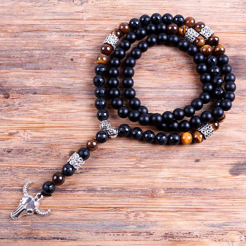 Cow Skull Lariat Mala necklace