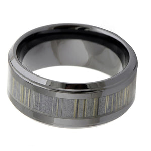 Grey Ceramic Ring With Zebra Wood Inlay