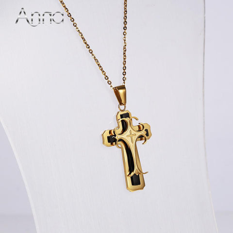 Gold-Plated Stainless Steel Cross Pendant Necklace