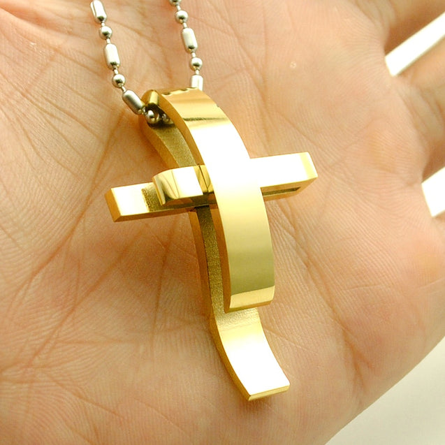 Stainless Steel Cross Pendant Necklace With Chain Cross Jewelry