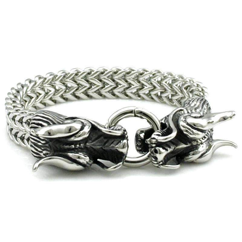 Stainless Steel Double Dragon Head Bracelet