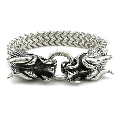 Image of Stainless Steel Double Dragon Head Bracelet