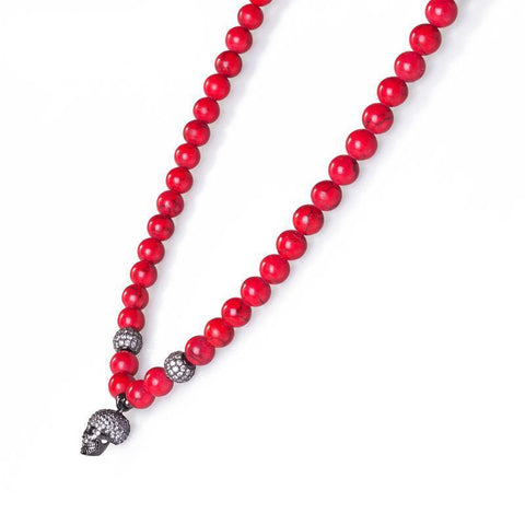 Image of Red Marble Stone Skull Beaded Necklace