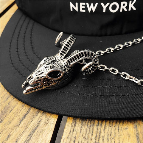 Image of Sheep Skull Pendant Necklace