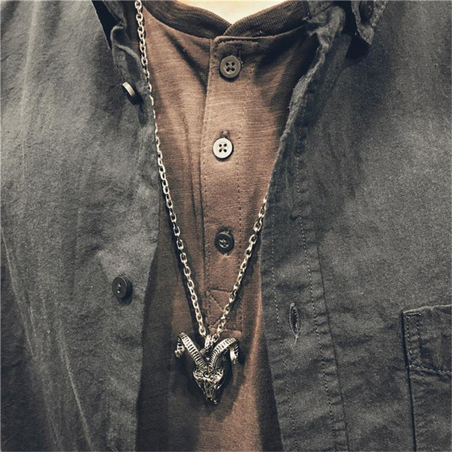 Sheep Skull Pendant Necklace