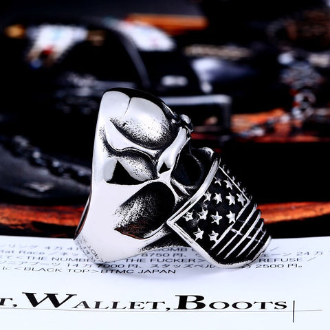 Image of American Flag Stainless Steel Skull Ring