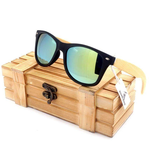 Bamboo Wood Sunglasses with Wooden Boxed And Polorized Lenses