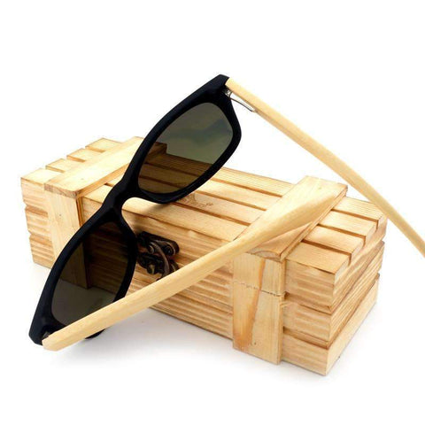 Image of Bamboo Wood Sunglasses with Wooden Boxed And Polorized Lenses
