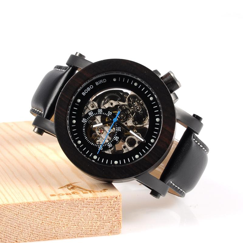Ebony Wood Skeleton Watch