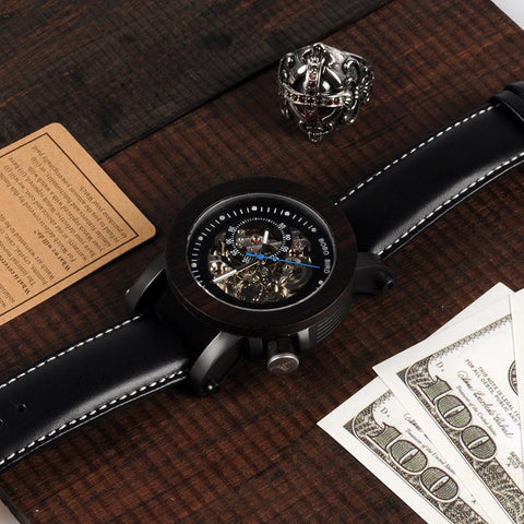 Image of Ebony Wood Skeleton Watch